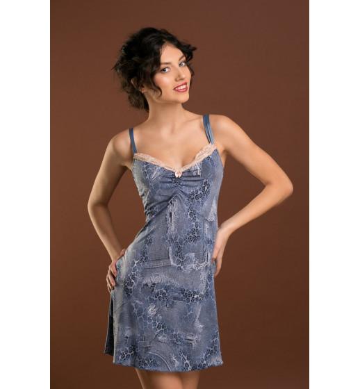 Сорочка Sambario Fa-Na-3201 Faina голубой джинс. ❤ Fa-Na-3201