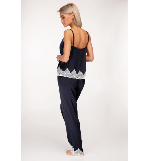 Комплект майка+брюки Sambario Laura сатин армани синий. ❤ Laura