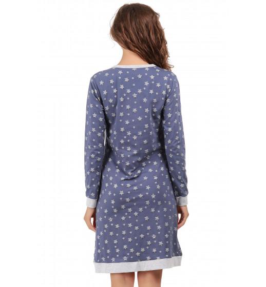 Платье домашнее с длинным рукавом 0195 хлопок, звездочка. ❤ 0195