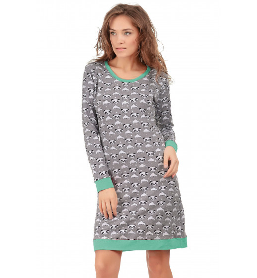 Платье домашнее с длинным рукавом 0196 хлопок, панда. ❤ 0196