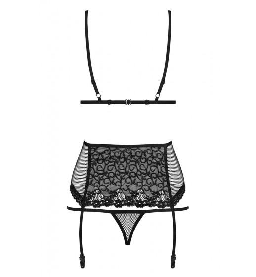 Комплект бюстгальтер+трусики+пояс Obsessive 821-SEG-1 SET Черный. ❤  821-SEG-1 SET Черный