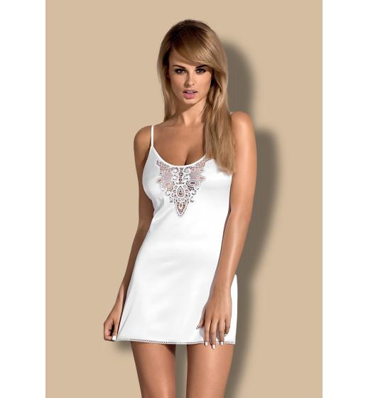 Комплект сорочка+трусики Obsessive LELIA CHEMISE Белый. ❤ LELIA CHEMISE Белый.