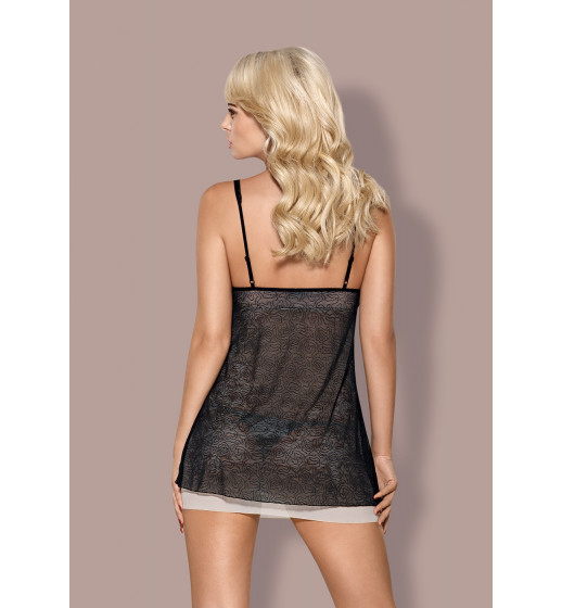 Комплект сорочка+трусики Obsessive 811-BAB-4 BABYDOLL Черно-бежевый. ❤ 811-BAB-4 BABYDOLL Черно-бежевый.