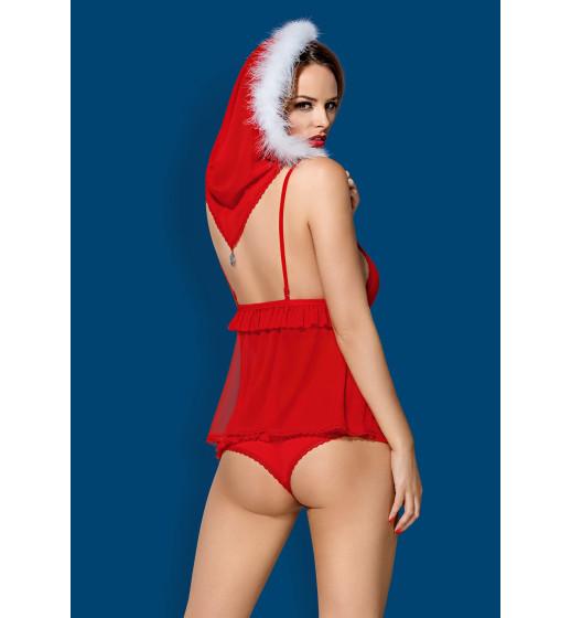 Комплект бюстгальтер+трусики+бебидол с капюшоном Obsessive 851-CST-3 BABYDOLL Красный. ❤ 851-CST-3 BABYDOLL Красный.