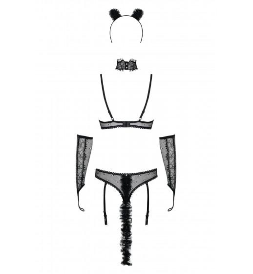 Комплект бюстгальтер+трусики+ушки Obsessive 836-CST-1 Черный. ❤ 836-CST-1 Черный.