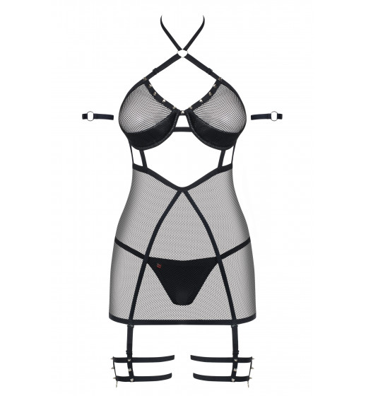 Комплект сорочка+трусики Obsessive 858-CHE-1 CHEMISE Черный. ❤  858-CHE-1 CHEMISE Черный.