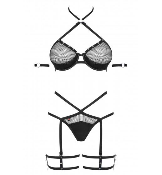 Комплект бюстгальтер+трусики с гартером Obsessive 858-SET-1 Черный. ❤  858-SET-1 Черный.