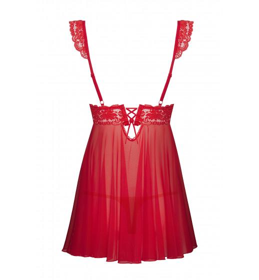 Комплект сорочка+трусики Obsessive 863-BAB-3 BABYDOLL Красный. ❤ 863-BAB-3 BABYDOLL Красный.